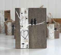 Love Birds Art Rustic Wood Signs Reclaimed Wood Art Birch Tree Aspen Tree Painting Wood Anniversary Gift Custom Wedding Gift for Couple - Woodworking Art Reclaimed Wood Art, Rustic Wood Signs, Wooden Signs, Wood Wood, Diy Wood, Painted Wood Signs, Barn Wood, Rustic Decor, Pallet Crafts