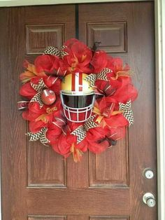 Deco Mesh Wreaths, Fall Wreaths, Door Wreaths, Christmas Wreaths, Xmas, Football Decor, Football Wreath, Nfl Football, Autumn Decorating