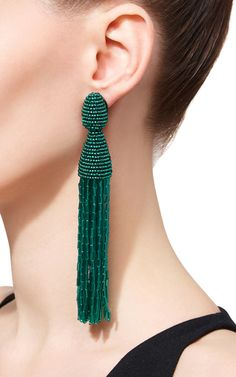 Long Beaded Tassel Clip On Earrings by Oscar de la | Moda Operandi