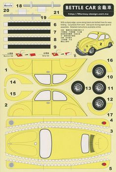 Bettle Car [sic] - Cut Out Postcard | Flickr: Intercambio de fotos