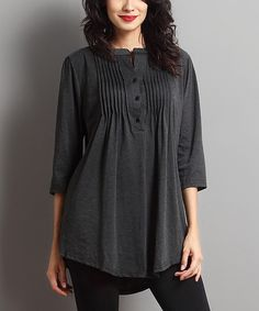 Look what I found on #zulily! Charcoal Notch Neck Tunic by Reborn Collection #zulilyfinds