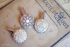 Wedding Hair clips set white hair jewelry round by chezviolette