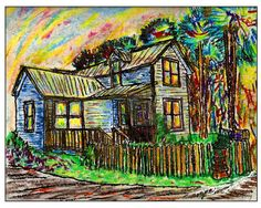 Pastel Print of...River House...  FREE SHIPPING USA