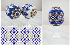 Handmade Beaded Easter Egg Black & White Open Diamond ...