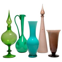 For Sale on - 5 large pieces. A eclectic collection in a nice blend of colors. Antique Perfume Bottles, Vintage Bottles, Vintage Glassware, Mid Century Modern Art, Modern Ceramics, Glass Collection, Glass Vase, Glass Bottles, Wine Glass
