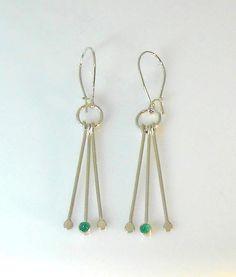 Sterling Silver and Chrysoprase Dangle Earrings Dangle Earrings, Dangles, Sterling Silver, Jewelry, Jewlery, Jewerly, Schmuck, Jewels, Jewelery
