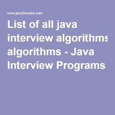 List of all java interview algorithms - Java Interview Programs