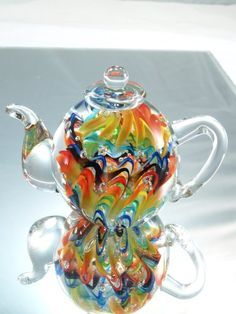 Murano Design Hand Glass Rainbow Pattern Teapot Art Sculpture