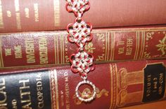 Red flower chainmaille bracelet on etsy