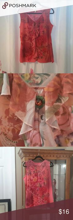 Look Gorgeous in this Beautiful Top!! (EUC) - Pink and Coral, floral design with a Ruffled front and a Pop of Sparkle - Red and Gold Jewel at neckline (pic #2) - Excellent Used Condition - 100% Polyester Dress Barn Tops