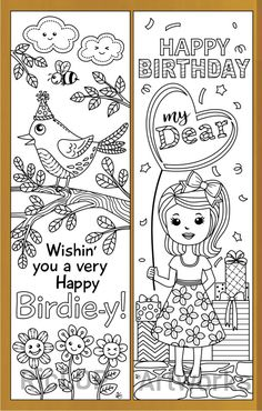 4 Printable Birthday Coloring Bookmarks