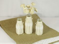 Ivory rustic wedding vase set ivory shabby chic by EuphoriaRoad, $32.95