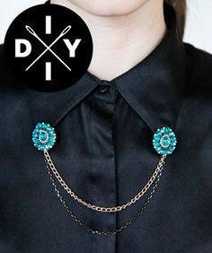 Whip Up These Chic DIY Holiday Accessories Now: old clip-on earrings into collar accessories