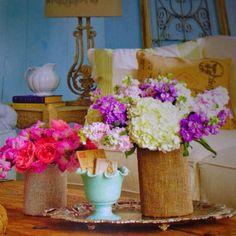 Burlap covered vases