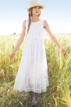 Next White Floaty Layered Dress (3-16yrs) | Dresses | Kidswear | EziBuy NZ