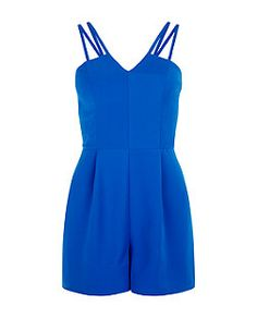 Dark Blue Double Strap Crepe Playsuit  | New Look