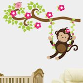 Girl Monkey Swinging on a Vine Wall Decal