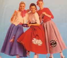 Get ready for the sock hop with this charming pattern! A simple circle skirt with petticoat and a choice of 6 appliques designs for the skirt.