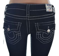 True Religion Womens Super Jeans Size 26 Big T with Flaps in Eagles Talon NWT  #TrueReligion #SlimSkinny