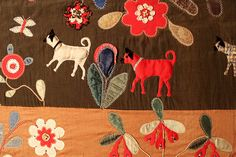 Dog applique quilt at the Folk Art Museum