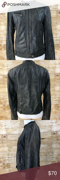 """MARC NEW YORK Distressed Leather Moto Jacket MARC NEW YORK Distressed Moto Jacket   Size Medium   Awesome, super comfortable jacket. Looks really on with the distressed look of the jacket. Black/gray color. Broken in for your comfort and cool factor! Hate to let it go but it doesn't fit anymore. :( hope someone else will enjoy it for me!   Measurements  Back width seam to seam 16.5"""" Shoulder width 13.5"""" Length 21"""" Arm 24.5"""" Jackets & Coats"""