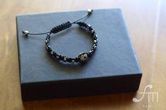 mens silver ball macrame bracelet by Fameisyou on Etsy