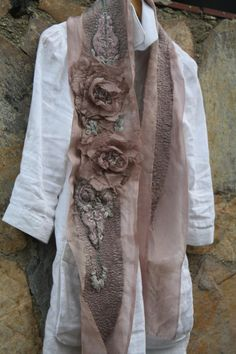 Écharpe Nunofelt ~ embellished and embroidered sheer fabric to create this wonderful scarf...... if you want to check out my board Stitching ~ Embroidery & Embellishments, there are a number of tutorials for making fabric flowers which could work for this.