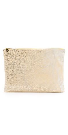 clare vivier metallic gold clutch
