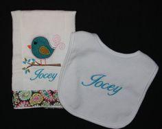 Custom birdie burp cloth and bib by SoSewSimplySweet on Etsy, $22.00