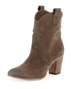 """Alberto Fermani hand-picked suede ankle boot. Lightly distressed with tonal topstitching. 6""""H shaft; 13"""" circumference. 3"""" stacked block heel. Tapered round toe; sweeping lines. Side loops for conveni"""