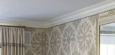 Thick, beautiful moldings (and door frames, window frames, etc) go a long way to changing the look and feel of a room by adding more architectural integrity Window Frames, Door Frames, Valance Curtains, Cornice, Drapery, Upholstered Walls, Nailhead Trim, Architectural Elements, Architecture Details