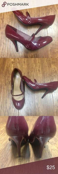 d7bd9b8f55cc6 Burgundy red patent leather Mary Jane pumps 11 W Nwot Mary Jane style pumps  from lane Bryant. Size 11W. Never worn. So cute Lane Bryant Shoes Heels
