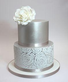 Silver metallic cake