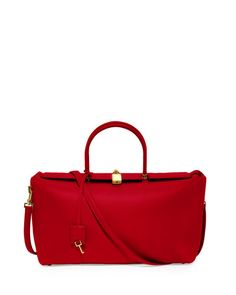 """#ONLYATNM Only Here. Only Ours. Exclusively for You. Tom Ford smooth leather satchel bag. Rolled top handles; removable shoulder strap, 17.7"""" drop. Padlock closure with hanging covered key charm. Notc"""
