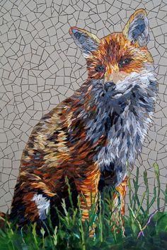The Red Fox' | Rachel Evans Mosaics 2014) Glass and unglazed ceramic tiles. 59 x 46cm (Not including frame)