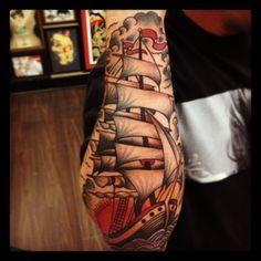tattoo oldschool ship color