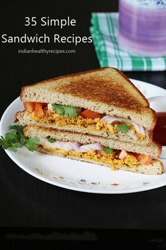 Sandwich recipes - Learn how to make sandwich varieties. Easy grilled & toasted delicious sandwich recipes for breakfast, brunch, snack or school box. Vegetarian Sandwich Recipes, Breakfast Sandwich Recipes, Easy Sandwich Recipes, Healthy Sandwiches, Delicious Sandwiches, Easy Healthy Recipes, Gourmet Recipes, Easy Meals, Cooking Recipes