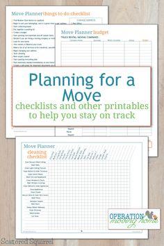 Checklijsten voor een verhuis (Budget, poetsen, inpakken,...)