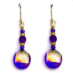 Fiery Cobalt Drop earrings.  Striking 9mm, cobalt blue drops punctuated by fiery gold dichroic glass with beaded accents, gold filled ear wires (DE-029)