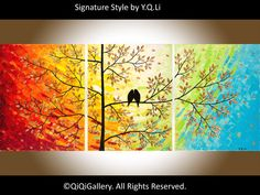 The Sun Shines on Us Abstract Painting Landscape Painting Original Modern Heavy Texture Impasto Painting Palette Knife Tree Love Birds Painting Wall Décor by QIQIGallery Yellow Canvas Art, Large Canvas Wall Art, Abstract Landscape Painting, Landscape Paintings, Abstract Art, Love Birds Painting, Baby Painting, Home And Deco, Texture Art