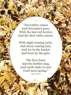 November by Clyde Watson * AUTUM - FALL - LEAVES - THANKSGIVING - PUMPKINS - SWEATER WEATHER - COCOA - HOT CHOCOLATE - APPLES!