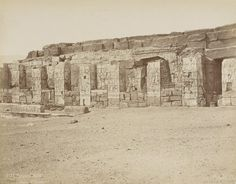 USURPED BY SETI I - TEMPLE OF SETI I, IN FRONT OF THE MUCH OLDER 'OSIRION'  Temple d'Osiris à Abjdos, H.te Egypte. Photographe : Jean Pascal Sebah (1838-1910)