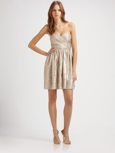 Strapless Silk Metallic Dress - Lyst