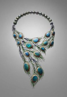 OPAL ASSYMETRY Strutting her feather in 2014 the Alessio Boschi Plumes necklace takes the peacock tail as its inspiration and uses 15 black opals as the centrepieces of cascading and movable feathers. Black Opal Jewelry, Fine Jewelry, Gothic Jewelry, Silver Jewellery, Silver Earrings, Vintage Jewelry, Jewelry Making, Peacock Jewelry, Peacock Necklace