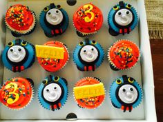 Thomas cupcakes for my nephew's 3rd birthday