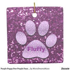 #PuppyPaw #PurpleFauxGlitter #CeramicSquareOrnament by #MoonDreamsMusic