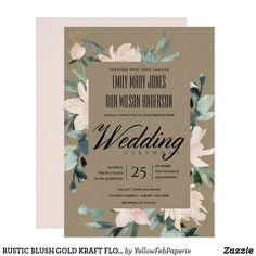 RUSTIC BLUSH GOLD KRAFT FLORAL WATERCOLOR WEDDING INVITATION