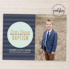 LDS Baptism Invitation Boys Baptism Announcement Blue