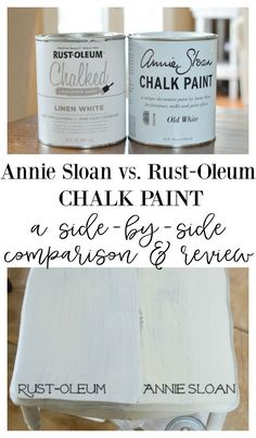 Crafts and More Annie Sloan Chalk Paint vs Rust-Oleum Chalked Paint. A Side by Side Comparison and R Old Furniture, Repurposed Furniture, Furniture Ideas, Furniture Design, Barbie Furniture, Garden Furniture, How To Paint Furniture, Painting Laminate Furniture, How To Distress Furniture