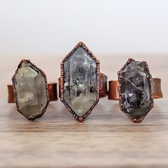 Large Raw Herkimer Diamond Ring | Bohemian Gypsy Jewelry | Boho Festival Jewellery | Hippie Fashion Style | Indie and Harper